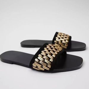 Zara slide sandals with gold woven straps